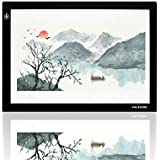 Huion L4S Light Box - 17.72 Inches USB Adjustable Illumination Light Panel only 5mm Thin Light Table with 5 A4 Tracing Papers and 1 Non-Woven Bag L14.17 x W10.63 x H0.2