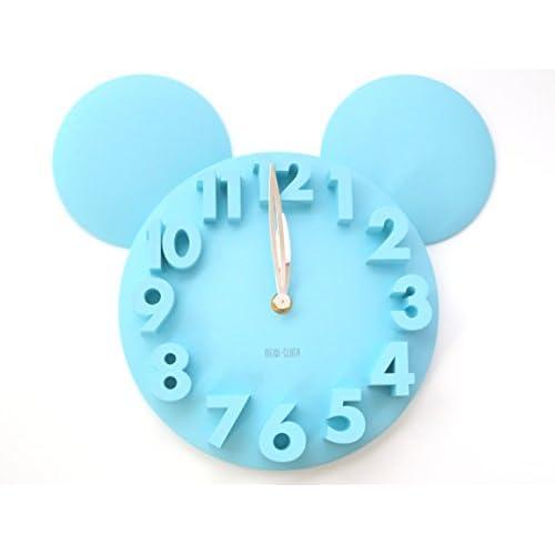 掛け時計 3D ウォール クロック 壁掛け アニマル シルエット (ブルー)