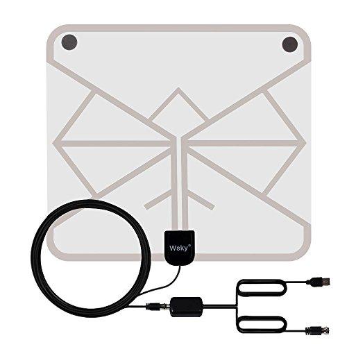 室内 HD テレビ アンテナ Wsky 地デジ ペーパーアンテナ 卓上・TV アンテナ UHF VHF対応 96KM受信範囲 USB式 避雷 簡単設置 (改良版)