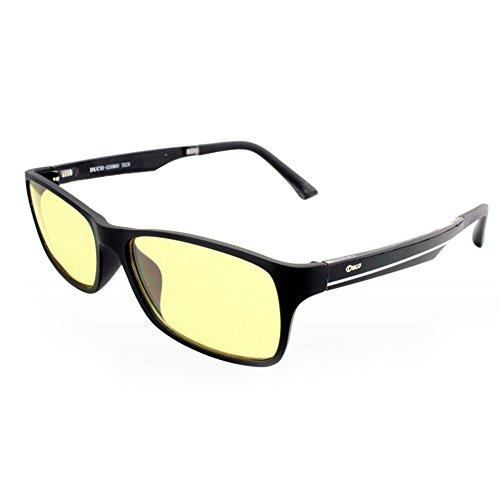 Duco 青色光 カットめメガネ パソコン用 視力を保護 [黒フレームアンバーレンズ ] 超軽量223