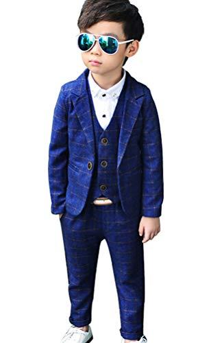 ce0565df5bf3c フォーマル スーツ 男の子スーツ チェック柄 子供用 結婚式 発表会 ジャケット ベスト ズボン 3