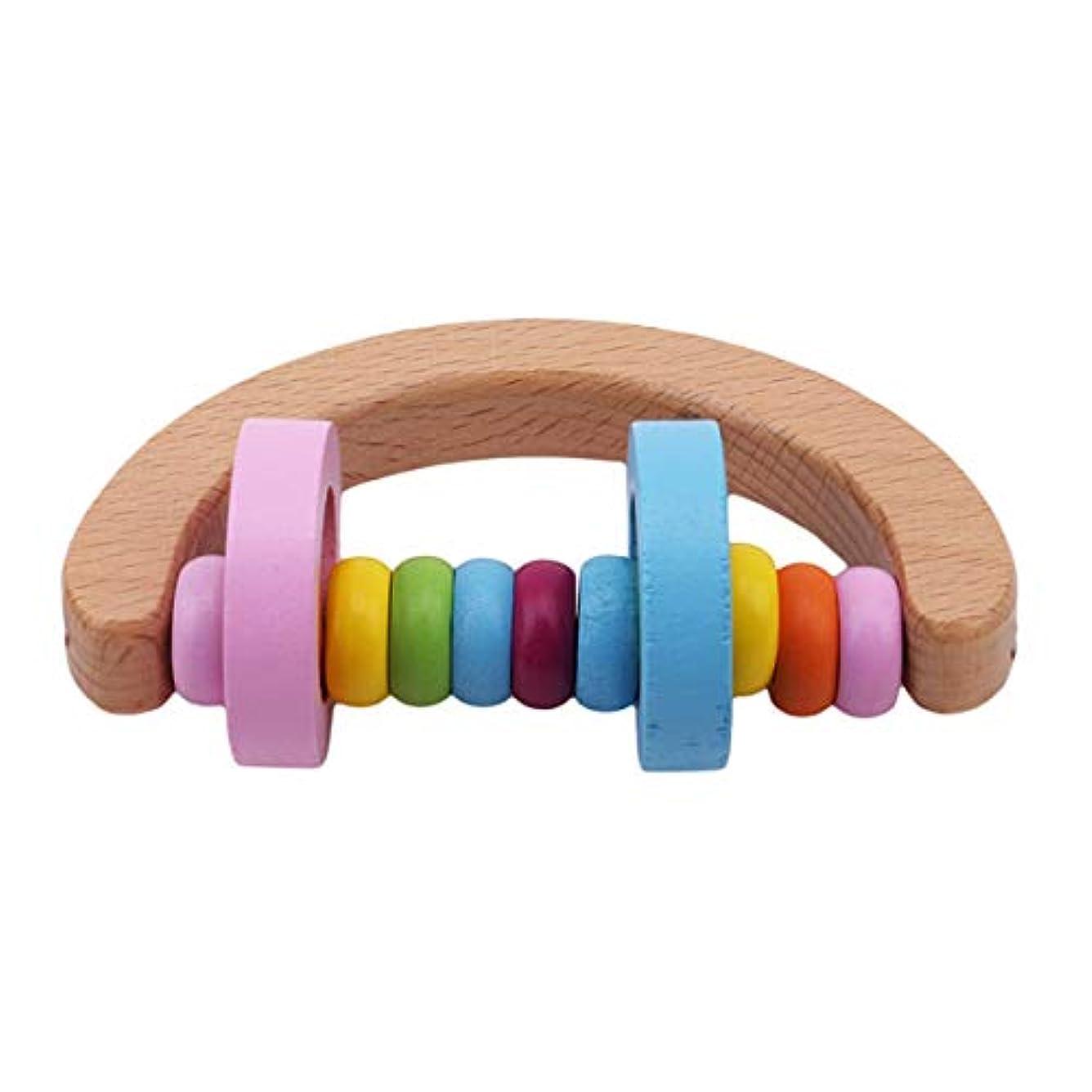 外部避ける設計図Winwinfly 幼児ラトルハンドヘルドラトルハンドベル楽器ラトル就学前のおもちゃ,半円形のガラガラ