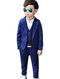 0d4dd1f654877 Iypurkmn 男の子 フォーマル スーツ チェック 柄 子供用 結婚式 発表会 ジャケット ベスト ズボン 3