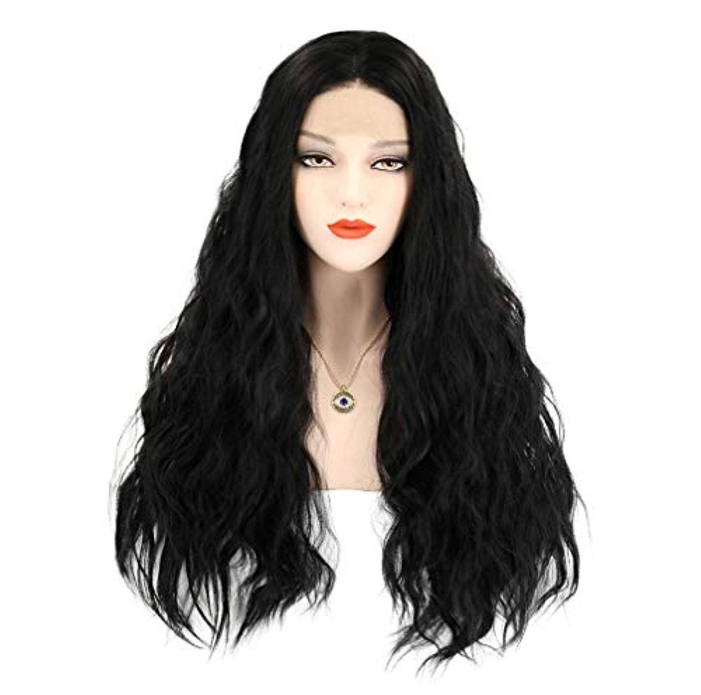 個人的にホーン数学的な女性かつらロングフロントレースかつら波状人工毛温度150%密度黒26インチ