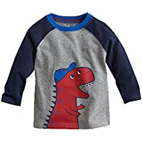 Mengmeng Cartoon Crocodiles Elephants Tee 100% Cotton Baby Boy Long Sleeve T-Shirt