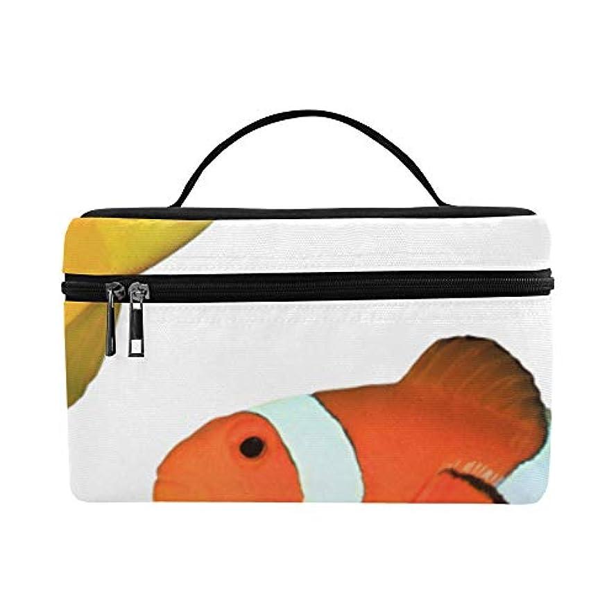 祈る祭りアラームGXMAN メイクボックス 魚 カクレクマノミ コスメ収納 化粧品収納ケース 大容量 収納ボックス 化粧品入れ 化粧バッグ 旅行用 メイクブラシバッグ 化粧箱 持ち運び便利 プロ用