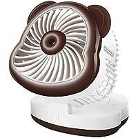 SHANGRUIYUAN-Mini Fan Cat Summer Mini USB Multifunction Fan Handheld Stable Base Fan Cute Personal Fan (Color : Coffee)