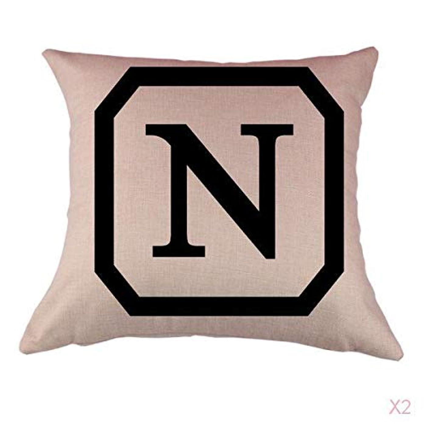 空いている懇願する完璧コットンリネンスロー枕カバークッションカバー家の装飾頭文字nを