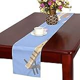 LKCDNG テーブルランナー ブルー 美しい 和風の花 クロス 食卓カバー 麻綿製 欧米 おしゃれ 16 Inch X 72 Inch (40cm X 182cm) キッチン ダイニング ホーム デコレーション モダン リビング 洗える