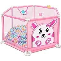 ベビーサークル 漫画の赤ちゃん遊び場遊び場105ボール屋内の子供の安全フェンスの子供の遊び場遊びペン (色 : Pink, サイズ さいず : 140x50cm)