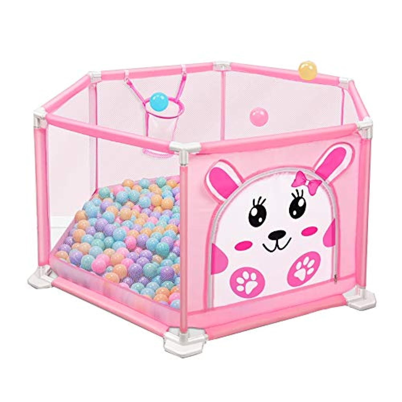 ベビーサークル 漫画の赤ちゃんPlaypen子供の安全フェンス205ボールの屋内キッズPlayard Play Pen Playground (色 : Pink, サイズ さいず : 110x50cm)