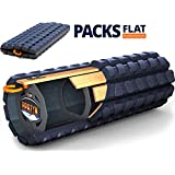 Brazyn Morph Alpha Foam Roller - Collapsible & Portable High Density Muscle Back Massager for Yoga Myofascial Release Massage (Midnight Blue)