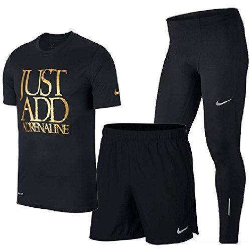 ランニングウェア 3点セットメンズ ナイキ NIKE 半袖Tシャツ 7インチショーツ ロングタイツ 男性用 ジョギング マラソン トレーニング 923209 908789 856887 スポーツウェア/NIKEset-G (S, (010) ブラック)
