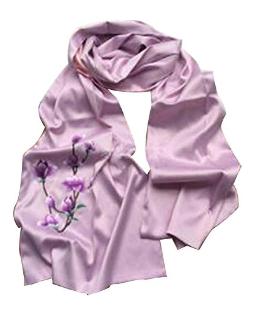 財団理容室ノイズシルク刺繍スカーフファッションスカーフ女性のための長いショール #02