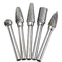 OSIDU 5pcs 10MM Head Tungsten Carbide Rotary Burr Set 1/4-Inch 6mm Shank Die Grinder Bits Rotary File Grinder Drill Bit for Metal Carving [並行輸入品]