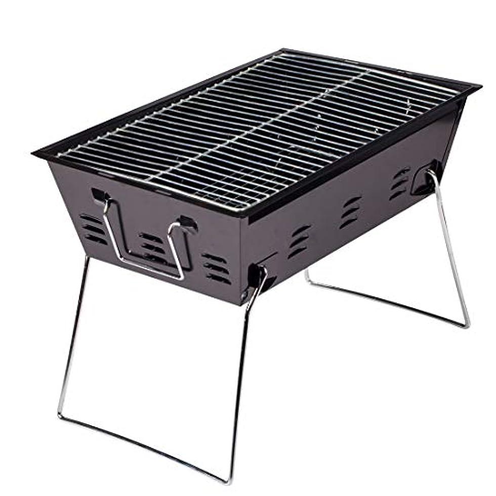 複合浸漬チャレンジLinannau ステンレス鋼のキャンプのグリルから作られる携帯用折りたたみ肥厚木炭バーベキューストーブ (Color : ブラック)