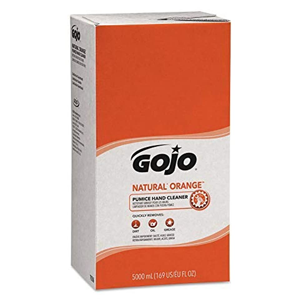 横向き避難悪性GOJO NATURAL ORANGE Pumice Industrial Hand Cleaner,5000 mL Quick Acting Lotion Hand Cleaner Refill for GOJO PRO...