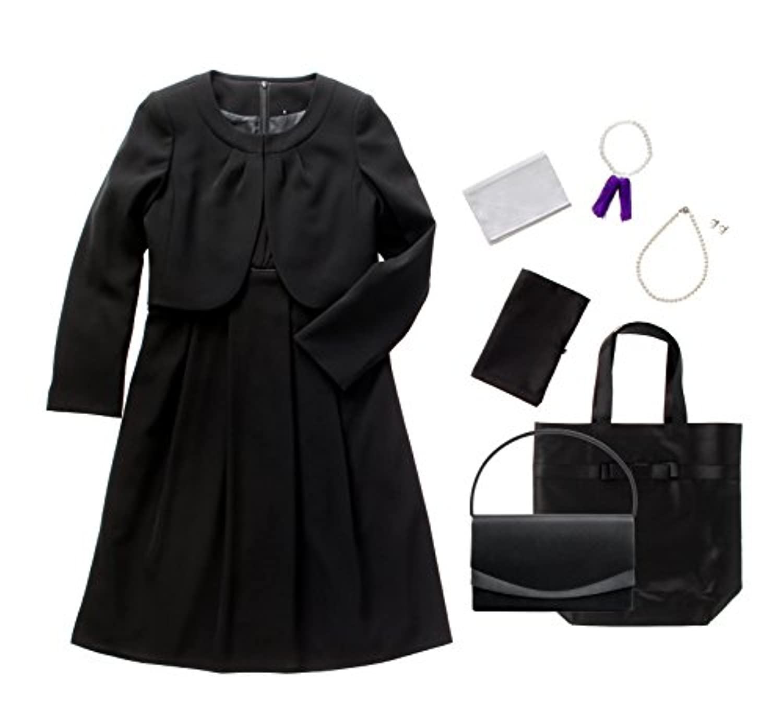(マーガレット)marguerite m426 ブラックフォーマル レディース 喪服 礼服 7点セット バッグ ネックレス イヤリング ふくさ ハンカチ 数珠 折畳トート
