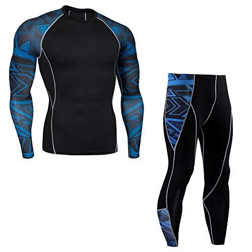 上下セット アンダーシャツ タイツ メンズ 長袖 加圧インナー スポーツウェア コンプレッションウェア セットアップ 速乾