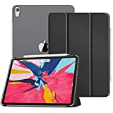 """MoKo Case Fit iPad Pro 11"""" 2018 - Translucent Frosted Back Protector Smart Shell Stand Cover with Apple Pencil's Magnetic Attachment Side Opening Fit iPad Pro 11 Inch 2018 - Black (Auto Wake/Sleep)"""