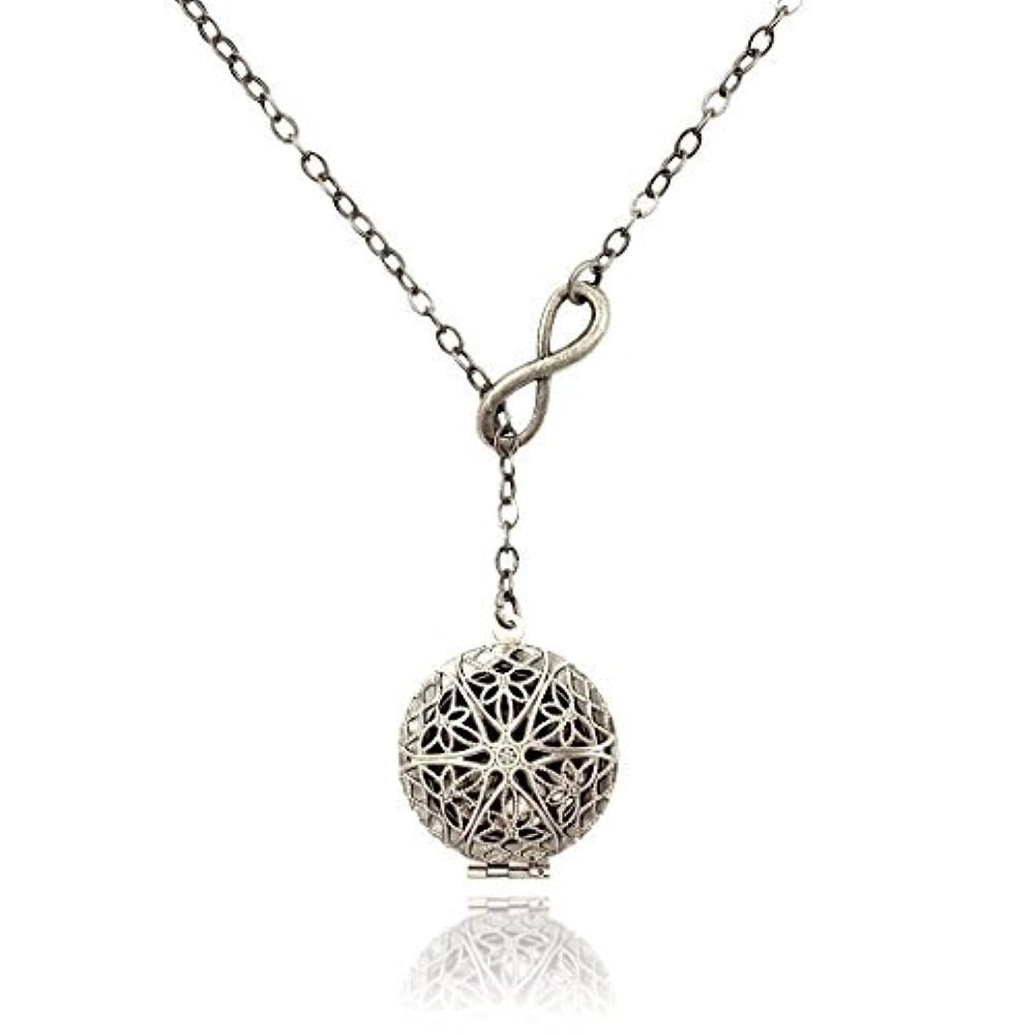 言い直す化粧原理Infinity Eternity Silver-tone Aromatherapy Necklace Essential Oil Diffuser Locket Pendant Jewelry Lariat Y-Style...