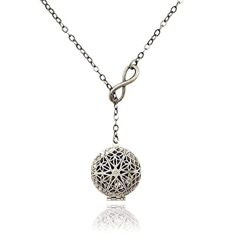 自転車生産的待つInfinity Eternity Silver-tone Aromatherapy Necklace Essential Oil Diffuser Locket Pendant Jewelry Lariat Y-Style...