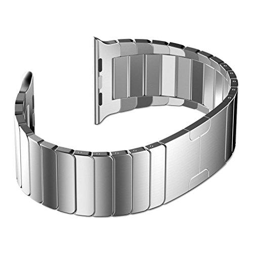 Haotop For Apple Watch アップル ウォッチ バンド マグネットロック設計 ステンレス留め金製 iWatchベルト 高級腕時計ストラップ/バンド (42mm,銀)