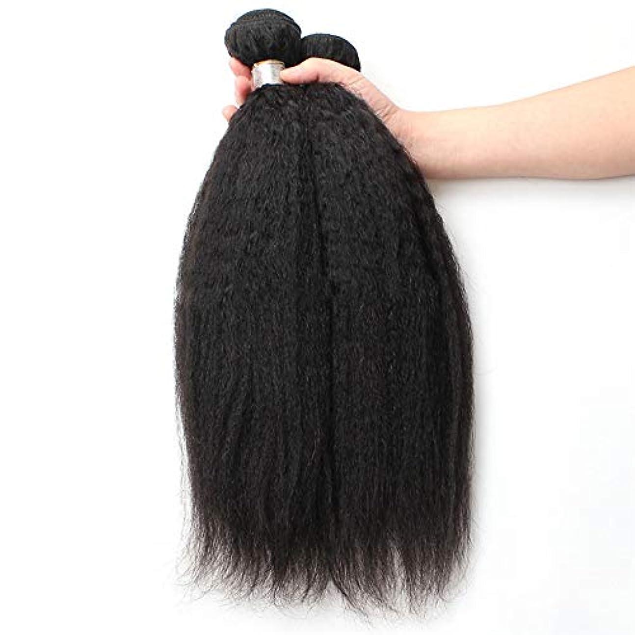 言い換えると程度制裁WASAIO 閉鎖ボディ未処理の拡張機能生物黒着色1つのバンドルにブラジルのキンキーストレート人間の髪織り (色 : 黒, サイズ : 22 inch)