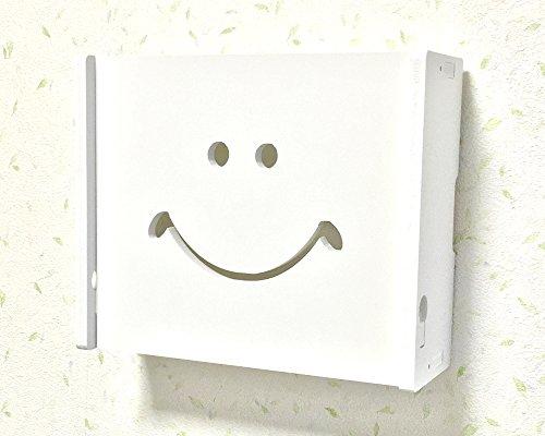 3world ルーター 壁掛け 収納 インテリア ボックス 24*20*8.5cm ホワイト 合板 SW452 スマイルミニ