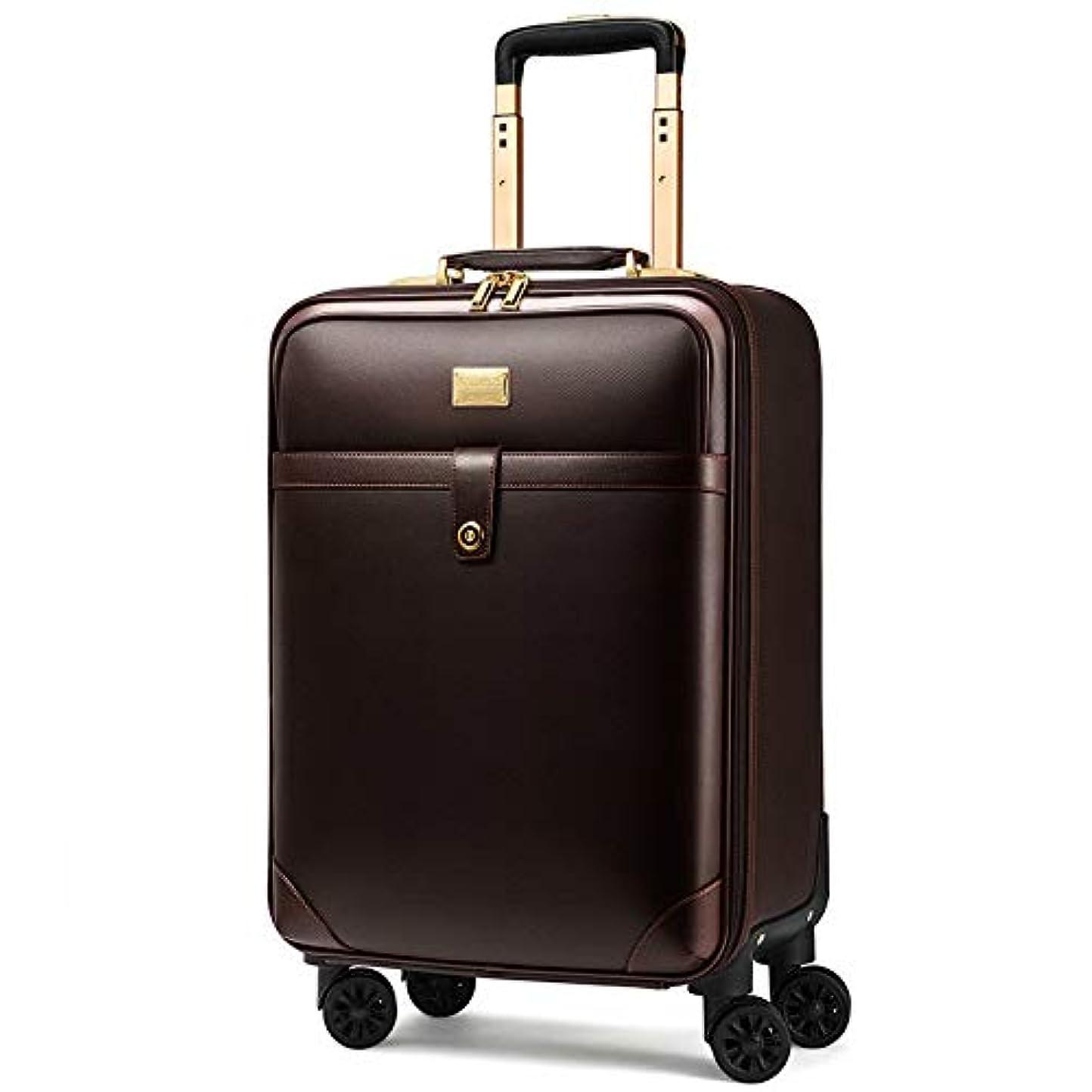 ファン免疫する宗教高級旅行スーツケースローリングスピナー荷物女性トロリーケース24インチホイールマン20インチボックスpvcヴィンテージキャビン旅行バッグトランク (Color : Brown, Size : Rectangle)
