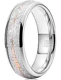 Three Keys Jewelry 6mm 8mm Imitated Meteorite Rose Gold Arrows Inlay White Tungsten Wedding Ring Band