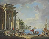 Giovanni Paolo Panini ジクレープリント キャンバス 印刷 複製画 絵画 ポスター(沿岸の風景)