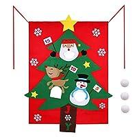 Mokylor フェルトクリスマスツリービーンバッグトスゲーム 楽しいクリスマスパーティーゲーム キッズ用スノーボール 吊り下げバナー 97x153cm