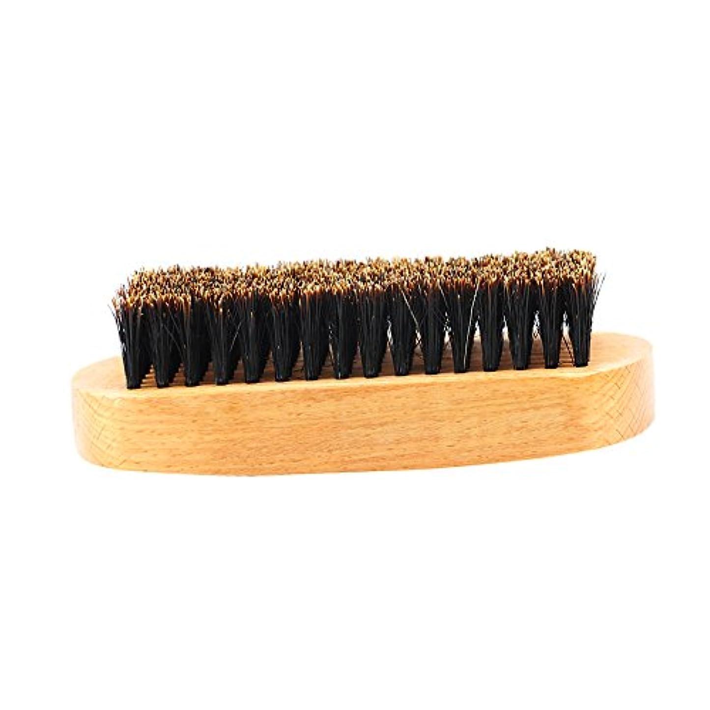 精神的にセールポータブルビュアブラシ 豚毛 髭ブラシ メンズ ひげブラシ 天然木ハンドル 口ひげケア 2タイプ選べる - #1