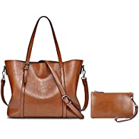 YALXUE Women's Soft Leather Tote Handbag Purse Shoulder Bag with Extra Wallet