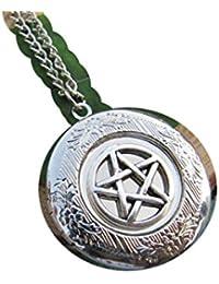 シルバー五角形ロケットネックレス、スモールロケットネックレス、ウィッカ、ジュエリー、Wiccan Pagan