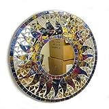 アジアン雑貨 壁掛け バリモザイク・ミラー 鏡 S [D.30cm] 丸型 ブルー系MIX 太陽 【丸い鏡】