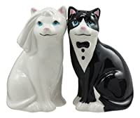 Ebros Wedding Cats Feline Black And White Cats In Tuxedo And Bridal Gown Salt And Pepper Shakers Ceramic Magnetic Figurine Set 9.5cm H