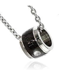 [ナピスト] ネックレス メンズ 316L ステンレス クリスタル カラー リング 50cm チェーン ブラック NPNS070