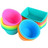 IPOW SC01 Silicone Cupcake Baking Cups Reusable Food-Grade BPA Free Non-Stick Muffin Liners Molds, Standard, Multi-Color