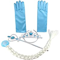 Vicloon アナと雪の女王風子供用 プリンセス コスチューム プリンセス手袋 +エルサのティアラ+三つ編み+ステッキ 豪華4点セット