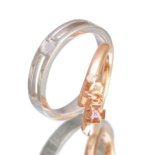 クロスペアリング/Ti Amo 十字架 ダイヤモンド 指輪 2個セット pair ring ケース付き 【メンズプラチナタイプ11号】【レディースピンクゴールドタイプ・ピンクチャーム5号】
