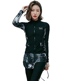 【ARMOTO】 フィットネス 水着 ラッシュガード レディース 5点セット タンキニ レギンス 体型カバー 長袖 前開き セパレート スイミング パンツ ブラ …