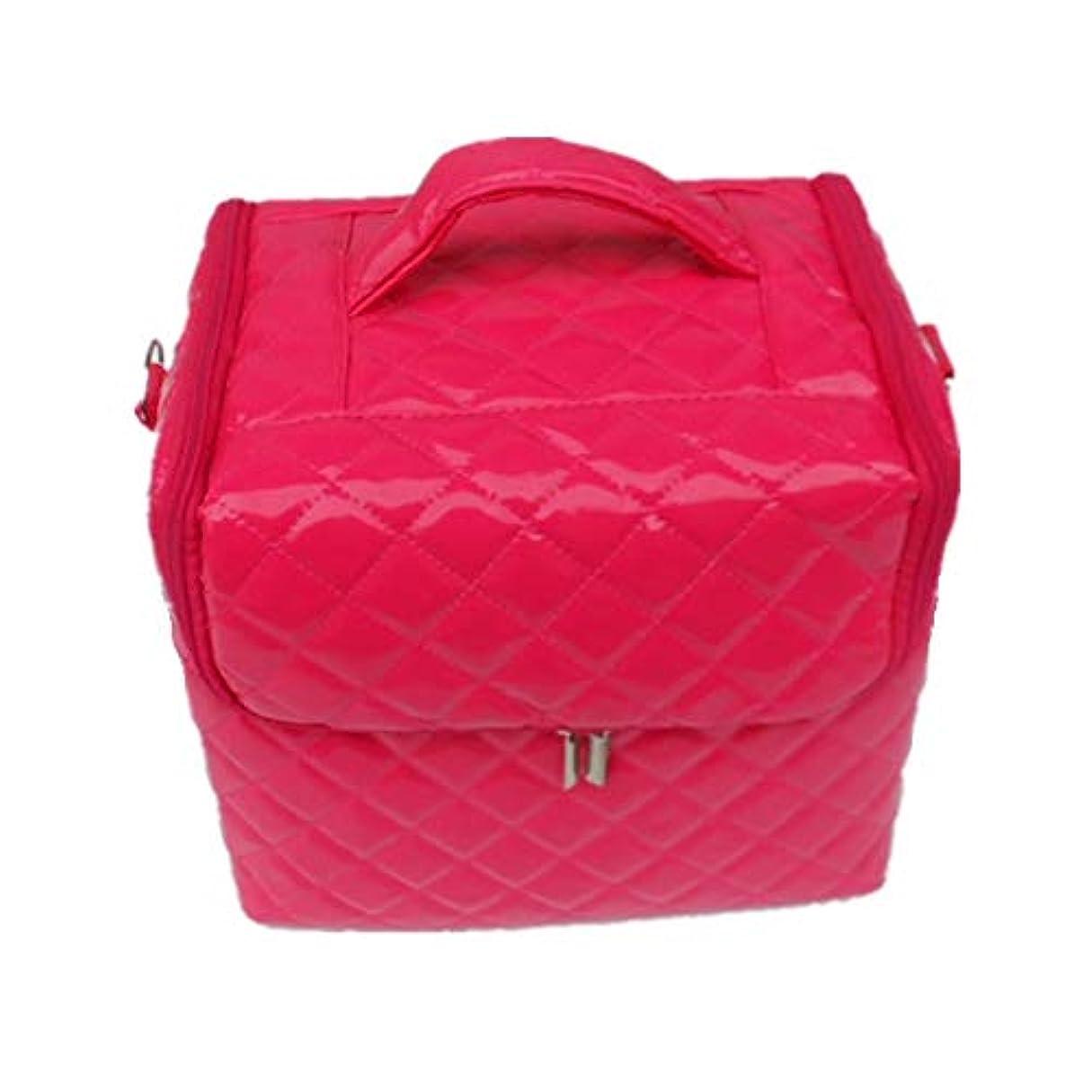 和解する薄い端化粧オーガナイザーバッグ 美容メイクアップのための大容量ポータブル化粧品バッグと女性の女性の旅行とジッパーと折り畳みトレイで毎日のストレージ用 化粧品ケース