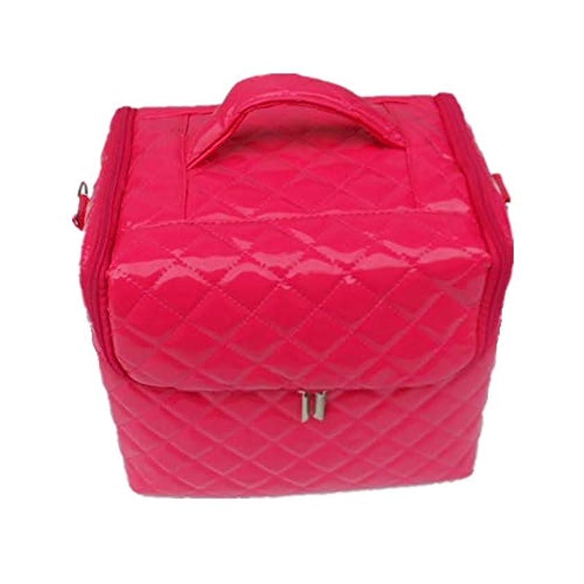 レモンサンダース納屋化粧オーガナイザーバッグ 美容メイクアップのための大容量ポータブル化粧品バッグと女性の女性の旅行とジッパーと折り畳みトレイで毎日のストレージ用 化粧品ケース