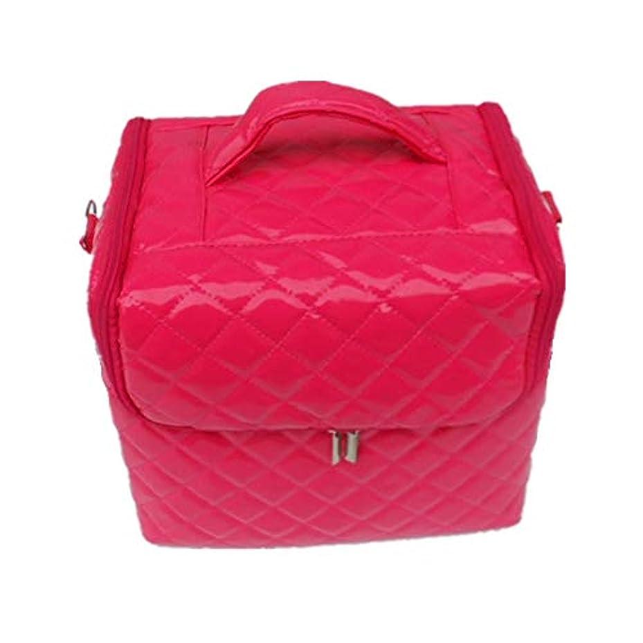 端いつどこでも化粧オーガナイザーバッグ 美容メイクアップのための大容量ポータブル化粧品バッグと女性の女性の旅行とジッパーと折り畳みトレイで毎日のストレージ用 化粧品ケース