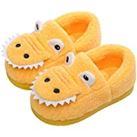 Kid Slippers, Cute Animal Slippers Closed Toe Cotton Slip on Home Shoes with Sole TPR Material,Yellow,180/190