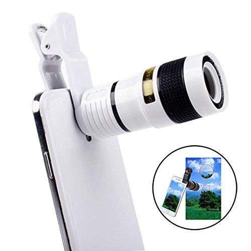 12Xズーム スマホ用カメラレンズ 高性能単眼望遠鏡 クリップ式望遠鏡 高画質 遠距離撮影3m~1200m 16°広い視角 簡単装着 ピント調整可能 携帯レンズ iPhone/Android多機種対応 (ホワイト)