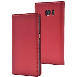 PLATA Galaxy S7 edge ケース 手帳型 ラム シープスキン 羊革 本革 レザー 手帳 カバー 【 レッド 赤 あか red 】 DSC02H-88RD