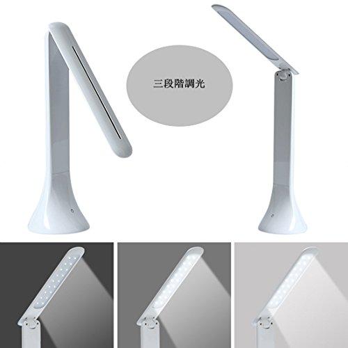 Leelbox LED デスクライト スタンドタッチセンサー で三段階の輝度調節 180°角度調整 折りたたみ式led卓上ライト ホワイト (FX-012 LED)